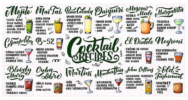 Beschriftungssatz von cocktailrezepten. vorlage für barkarte und restaurant.