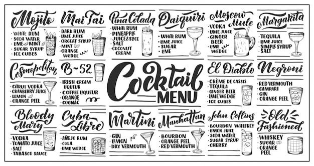 Beschriftungssatz von cocktailrezepten.