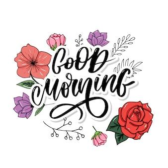 Beschriftungstext-slogankalligraphieschwarzes des gutenmorgens