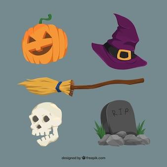 Besen mit anderen halloween-elementen