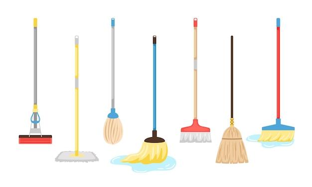 Besen und mops ausrüstung. hygienehandhabungsausrüstungsgegenstände-vektorillustration, haushaltsmop und hausarbeitsbesenwerkzeuge lokalisiert auf weißem hintergrund