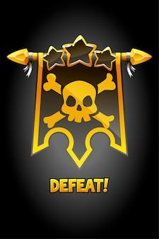 Besiege das popup-banner mit der schwarzen flagge und dem schädel.