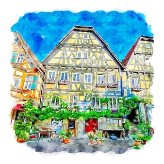 Besigheim deutschland aquarellskizze handgezeichnete illustration