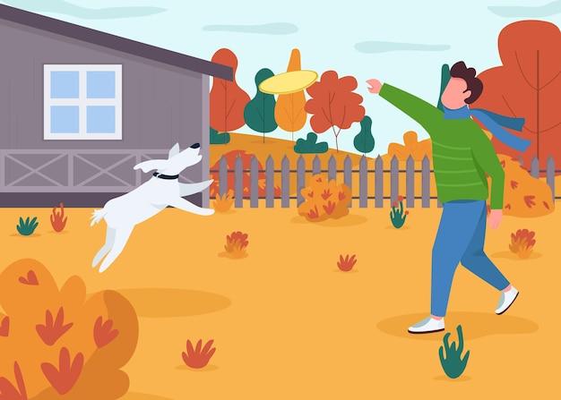 Besitzer spielen mit halbflacher illustration des hundes