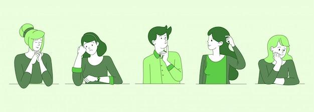 Besorgte, verwirrte personenkarikaturkonturillustrationen. junge männer, mädchen im zweifel, die nach einer lösung suchen und entscheidungszeichen in grüner farbe umreißen. verärgerte frauen und männer denken mit unsicherem gesicht