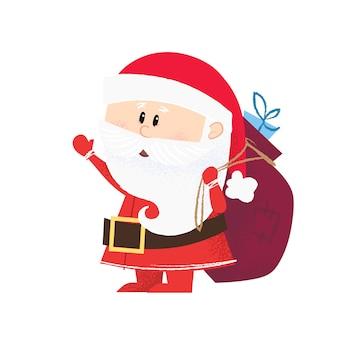 Besorgter weihnachtsmann tragender sack voll geschenke