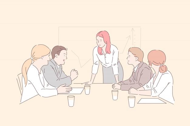 Besprechung im konferenzraum. chefin kommuniziert mit top-managern, analysiert markttrends, wachstumsstatistiken und diskutiert mit geschäftspartnern über unternehmensentwicklungsstrategien. einfache wohnung