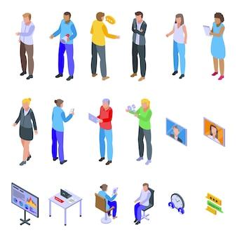 Besprechungssymbole festgelegt. isometrischer satz von besprechungssymbolen für web lokalisiert auf weißem hintergrund
