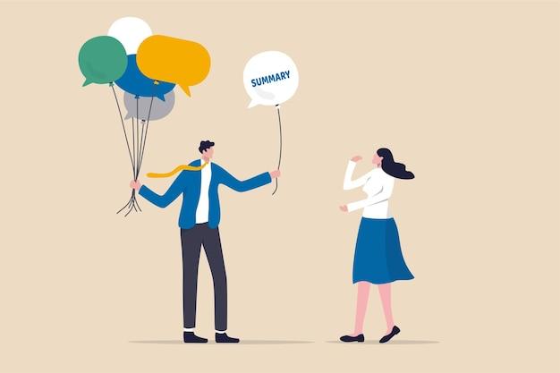 Besprechungszusammenfassung oder -abschluss, sitzungs- oder brainstorming-zusammenfassung und vereinbarungskonzept, geschäftsmann, der eine gruppe von sprechblasenballons als mitgliedsmeinungen hält und nach abschluss der sitzung eine zusammenfassung anbietet.