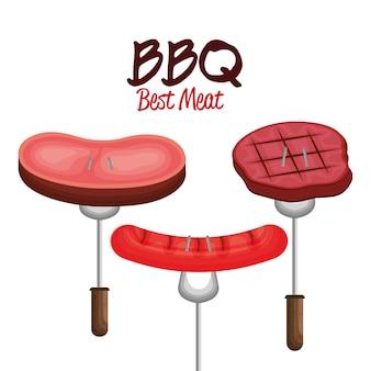 Beste fleischvektor-illustrationsdesign der grillpartei