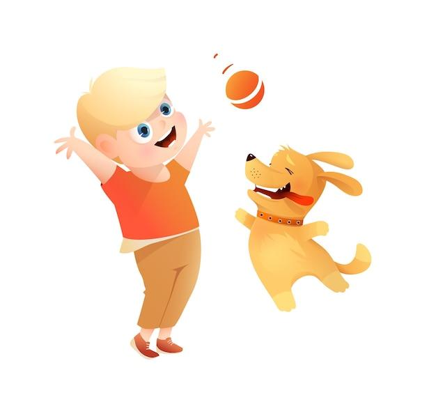 Beste freunde des jungen und des hundes, die zusammen spielen, welpe, der einen ball zu einem jungen holt illustration für kinder