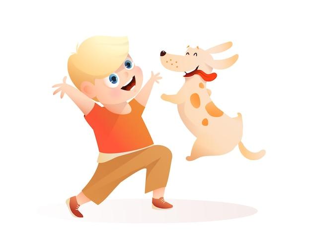 Beste freunde des jungen und des hundes, die zusammen spielen, welpe, der in besitzerhände springt kinder- und welpenkarikatur