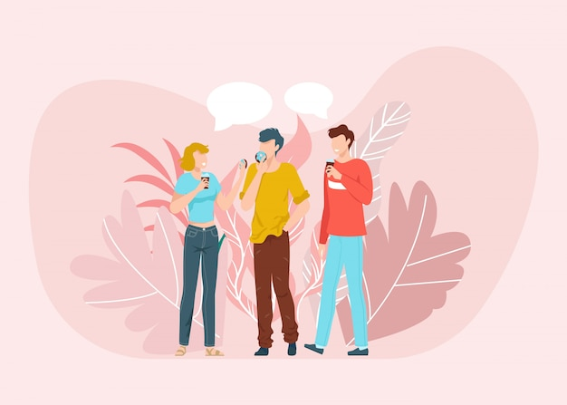 Beste freunde, die gute zeit zusammen szene haben, sprechen und kaffee trinken, freundschaft flache illustration lokalisiert auf rosa hintergrund.