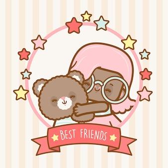 Beste freunde kawaii mädchen und teddybär