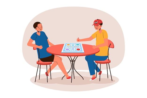 Beste freunde spielen ludo-spiel