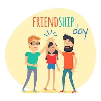 Beste freunde verbringen viel spaß, friendship day flat