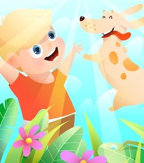 Beste freunde von jungen und hunden, die draußen in der natur spielen, welpe, die in glückliche kinderhände springt