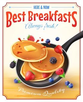 Beste frühstücks-weinlese-anzeigen-plakat