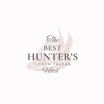 Beste hunter tavern abstract vector zeichen, symbol oder logo-vorlage