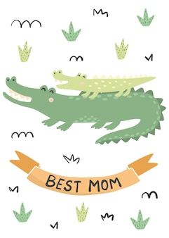 Beste mutterkarte mit einem niedlichen krokodil - mutter und baby. illustration