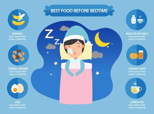 Beste nahrungsmittel vor der schlafenszeit infographic, illustration