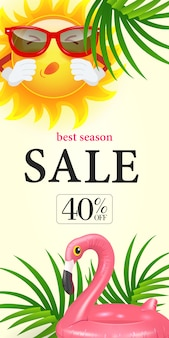 Beste saisonverkauf vierzig prozent rabatt auf schriftzug. einkaufsaufschrift mit tropischen blättern