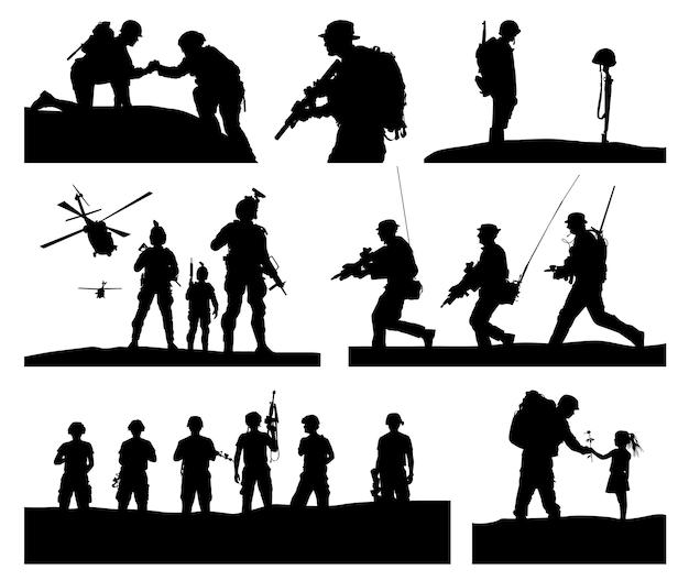 Beste sammlung von soldatensilhouetten