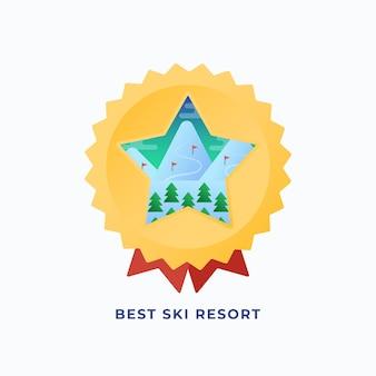 Beste snowboard resort medaille. flache artillustration mit bergen und kiefern-skirouten-hintergrund.