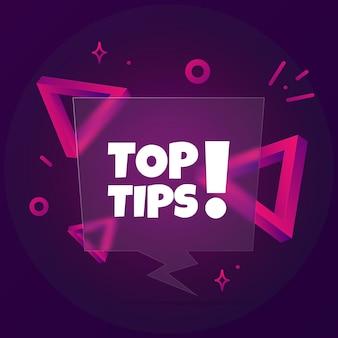 Beste tipps. sprechblasenbanner mit top-tipps-text. glasmorphismus-stil. für business, marketing und werbung. vektor auf isoliertem hintergrund. eps 10.