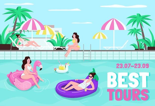 Beste touren poster flache vorlage. buchen sie tickets für die sommerferien. wochenende im tropischen resort. broschüre, broschüre einseitiges konzeptdesign mit comicfiguren. luxushotel flyer, faltblatt