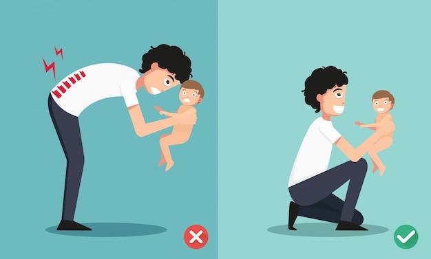 Beste und schlechteste positionen für das halten des kleinen babys