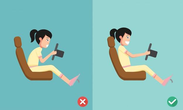 Beste und schlechteste positionen zum autofahren