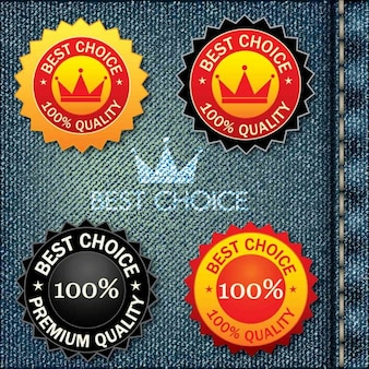 Beste wahl etiketten auf jeans beckground