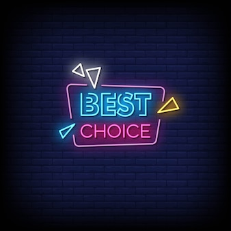 Beste wahl neon signs style text