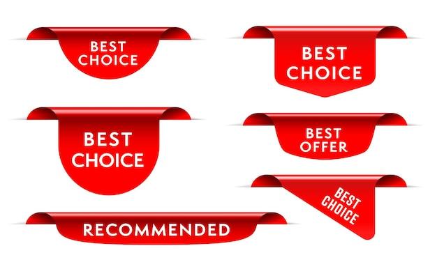 Beste wahl rotes etikettenband, lesezeichenetikett, eckaufkleber. satz rotes realistisches dreidimensionales qualitätsprodukt empfohlenes seidenschriftrollenband