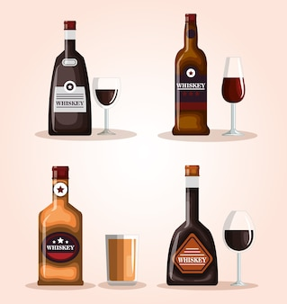 Beste whisky flaschen und tassen vektor-illustration-design