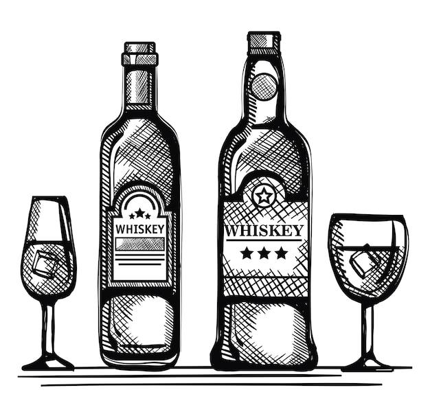 Beste whiskyflaschen und -becher gezeichnet