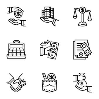 Bestechungsgeld-icon-set. gliederungssatz von 9 bestechungsgeldikonen