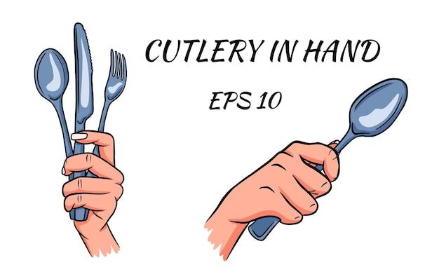 Besteck. gabel, löffel und messer in der hand. cartoon-stil.