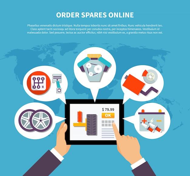 Bestellen sie ersatzteile online-design-konzept