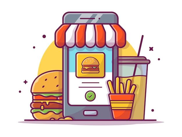 Bestellen sie fast food online mit hamburger, pommes frites und soda, illustration white isolated