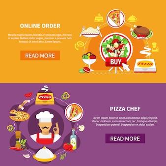 Bestellen sie pizza banner set