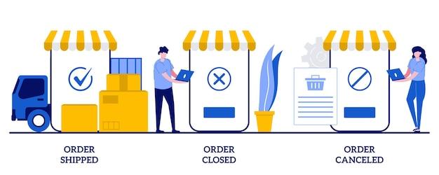 Bestellung versandt, bestellung geschlossen, bestellung storniert konzept mit winzigen leuten. paketverfolgungssystem, digitales einkaufen, online-einkaufsverteilungsset.