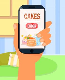 Bestellung von kuchen über die internet-app