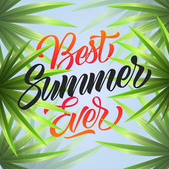 Bester sommer aller zeiten. tropischer hintergrund mit fächerpalmen.