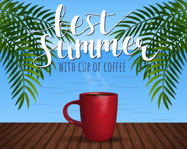 Bester sommer mit einer tasse kaffee.