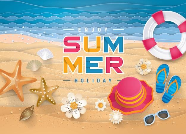 Bester sommerferien-strandhintergrund, das sand-ufer für sommersaison