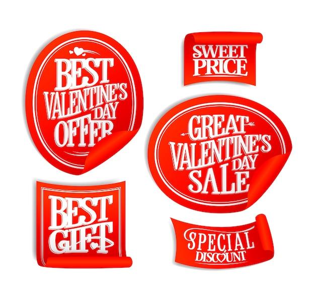Bester valentinstag sale sticker set - urlaubsangebote, sonderrabatt, süßer preis, vintage-stil schriftzug