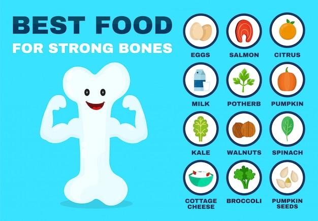 Bestes essen für starke knochen. starker gesunder knochencharakter.