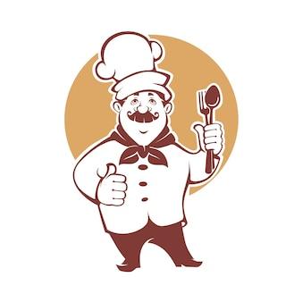 Bestes essen, glücklicher karikaturkoch, für ihr logo, emblem, etikett, zeichen